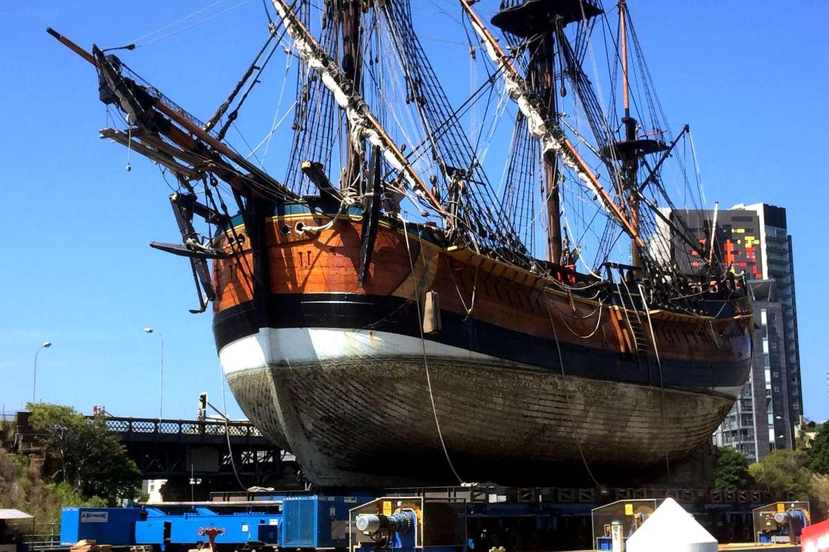 Endeavour at Sydney City Marine. Image: John Dikkenberg / ANMM.