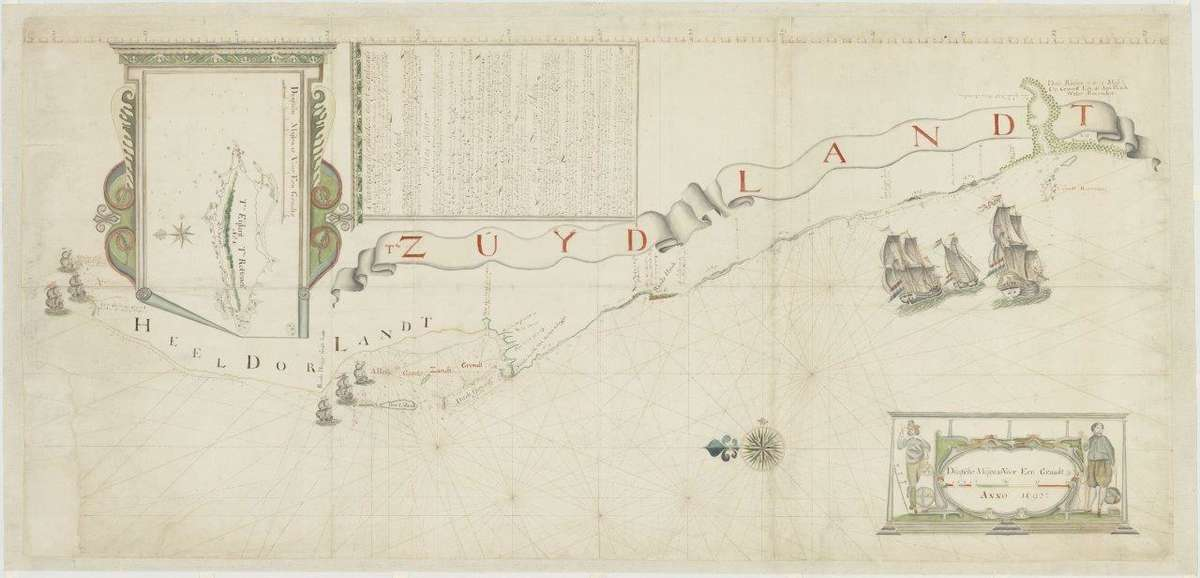 Victor Victorsz, Chart of Willem de Vlamingh's expedition to the South Land, showing Dirk Hartog Island and the ships Geelvinck, Nyptangh and Weseltje, 1697