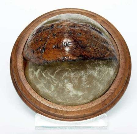 "Lt. John F. Kennedy carved a rescue message into this coconut. The message read: NAURO ISL... COMMANDER...NATIVE KNOWS POSIT...HE CAN PILOT... 11 ALIVE...NEED SMALL BOAT...KENNEDY Image: <a href""https://www.jfklibrary.org/Asset-Viewer/RlXdfYlMAUasL4z6S3vyCg.aspx"">JFK Library</a>."
