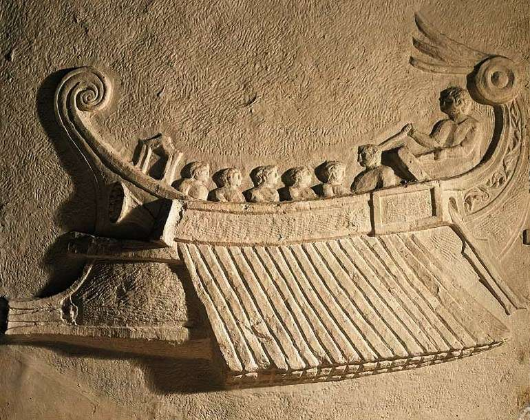 Relief from Campi dei Flegrei, showing a rostrum attached to a ship. Image: ANMM.