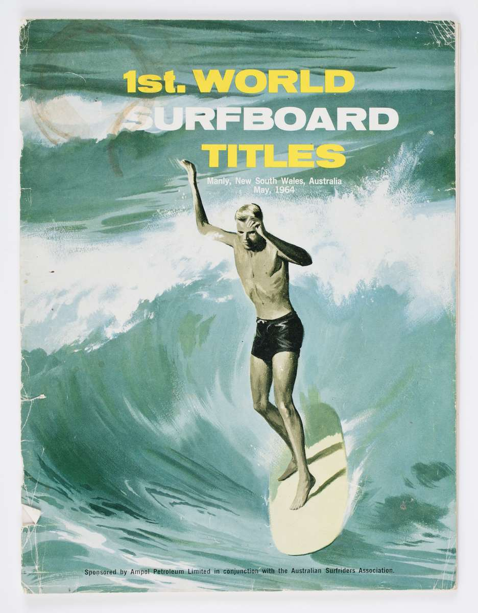 1st World Surfboard titles, Manly 1964, program. Program gift from Bev Farrelly and family in memory of Bernard 'Midget' Farrelly. ANMM Collection 00054956.