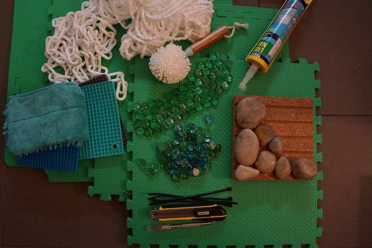 Creating sensory stepping stones and rugs. Image: Annalice Creighton / ANMM.