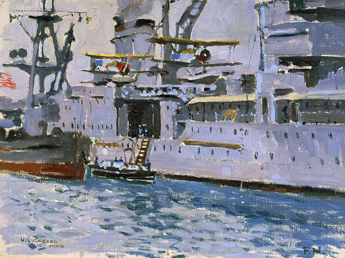 A close-up view of the starboard side of the cruiser USS Chicago by Frank Norton. ANMM Collection 00006210.
