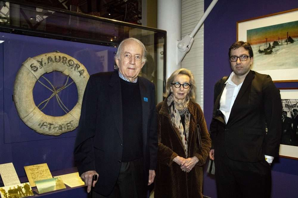 Mr John Hooke CBE, with Maria-Therese and son John at the plucky little ship Aurora display launch, John Hooke gifted Aurora's lifebuoy to ANMM in memory of his father Sir Lionel Hooke, wireless operator Shackleton's Ross Sea Party 1914-16.