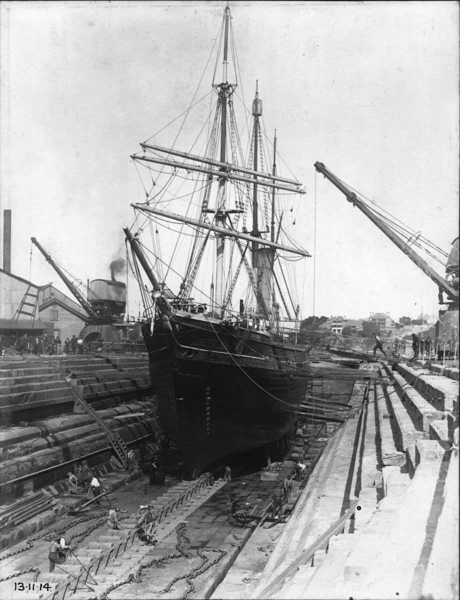 Aurora in dry dock Cockatoo Island, NSW, between expeditions, 13 November 1914, photographer Commonwealth Naval Dockyard, H J Shearman collection, courtesy Don Shearman