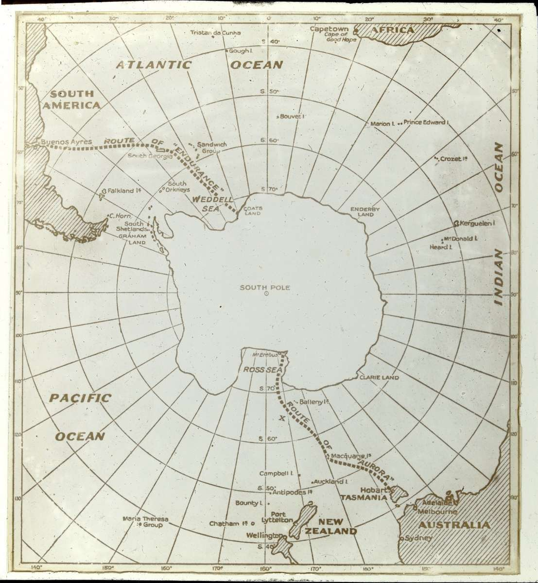 Map of the routes of Endurance and Aurora on the Imperial Trans- Antarctic Expedition, 1914–17, Andrew Keith Jack, courtesy State Library of Victoria