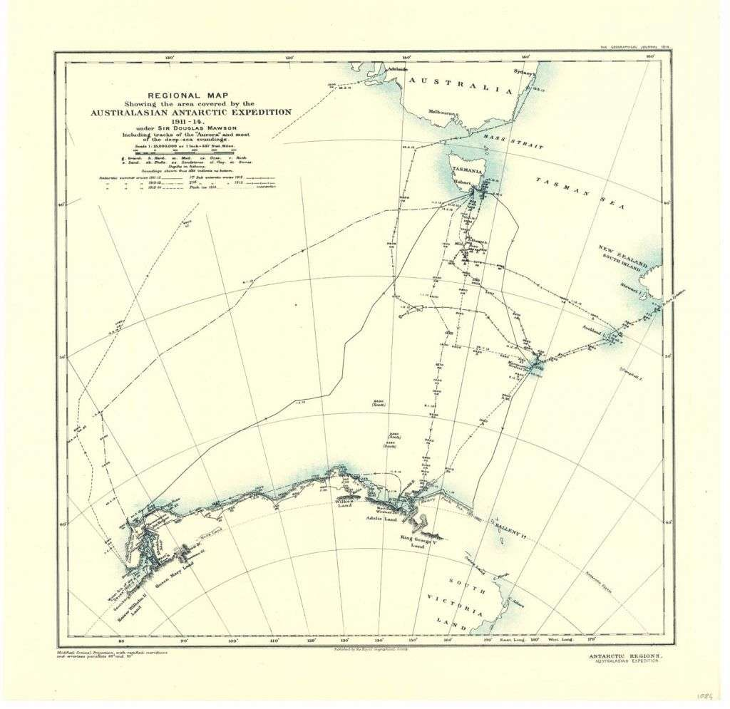Regional map of the area covered by the Australasian Antarctic Expedition 1911–14. Published by the Royal Geographical Society 1914, courtesy Australian Antarctic Division