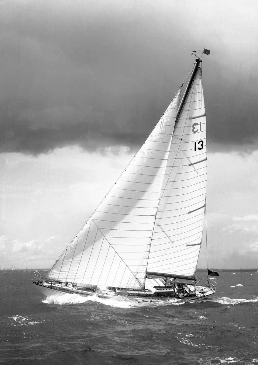 A famous Beken of Cowes image of Caprice of Huon on the Solent in 1965