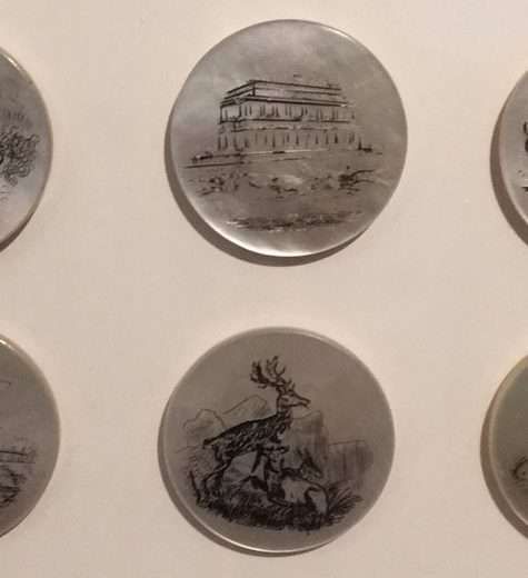 Some of the many pearlshell buttons on display in the Lustre exhibition. These are English