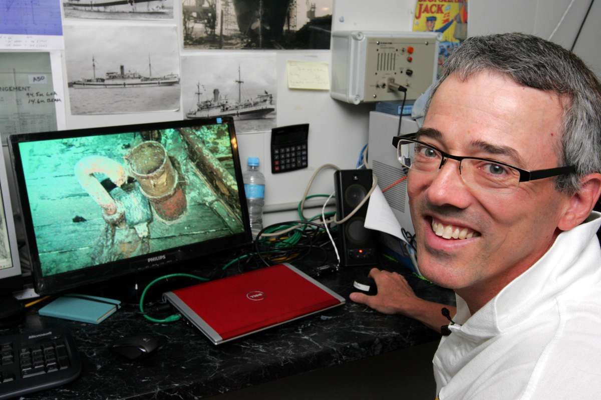 Much of David Mearns work as a shipwreck hunter is the analysis of images and sonar scans. Image: David Mearns.