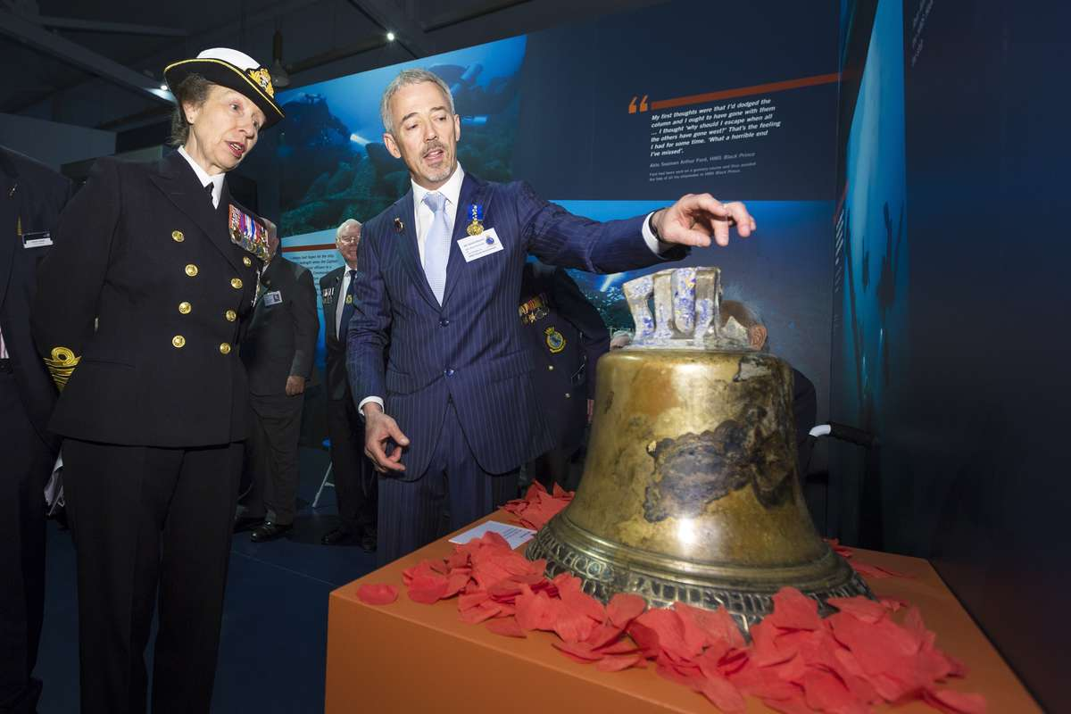 Her Royal Highness The Princess Royal pictured with David Mearns, Vice President of the HMS Hood Association during a tour of the National Museum of the Royal Navy (NMRN) exhibition 36 Hours: Jutland 1916, The Battle That Won The War at Portsmouth Historic Dockyard. Christopher Ison ©
