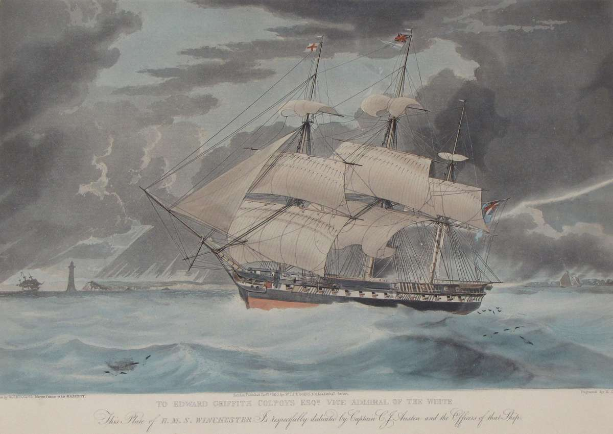 HMS Winchester, which Charles Austen commanded on the North American and West Indies station. Aquatint by W J Huggins, marine painter to His Majesty. Courtesy Jane Austen's House Museum.
