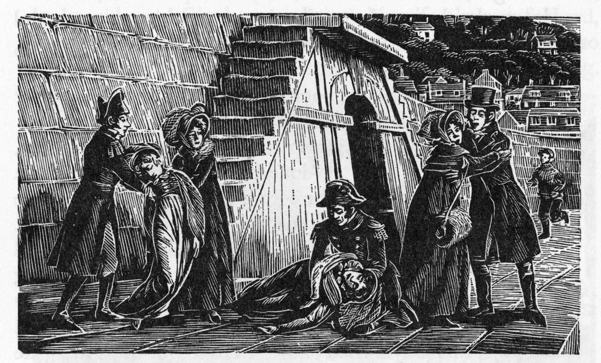 Woodcut by Joan Hassall illustrating a pivotal scene from the novel, an accident in Lyme Regis. Anne Elliot is third from left and Captain Wentworth kneeling at centre. From the 1975 Folio Society edition of Persuasion, reproduced with permission.