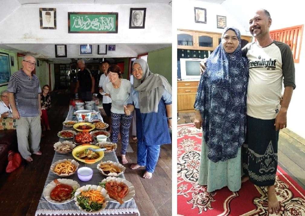 The home of our hosts on Pagarungan Kecil island in the Kangean group; at right: maritime trader & entrepreneur Abdul Rauf and his mother Ibu Fatma.