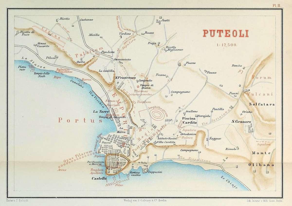 Plan of Puteoli showing the archaeological remains in red. Image: Karl Julius Beloch, <em>Campanien</em>, 1890.