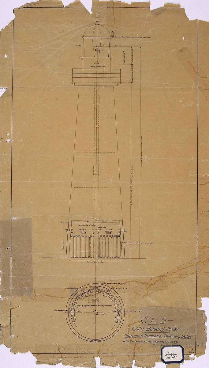 Preliminary sketch for the conversion of the lighthouse to an unmanned configuration, 1918. Image: National Archives of Australia A9568 3/1/2.