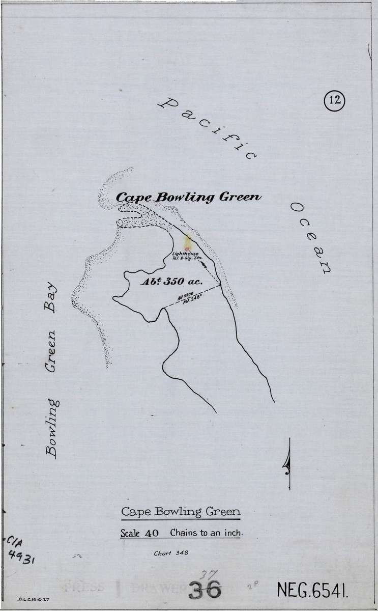 Map of Cape Bowling Green, 1927. Image: National Archives of Australia BP374/1 NEG6541.