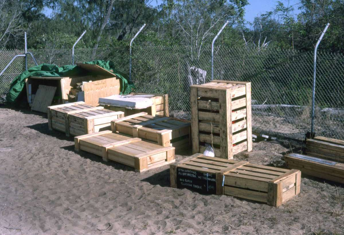 Smaller components were crated for transport, 1987. Credit: Michael Pitcher.