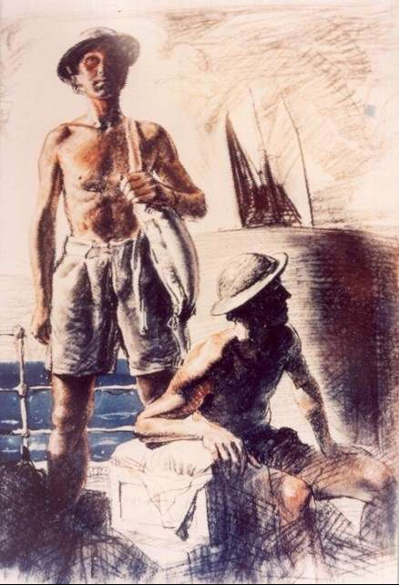 Painting of Reg Ward of Carey Bay, by Captain William A Dargie, c.1944. The painting shows Reg guarding military prisoners (soldiers under detention returning to Australia), probably from New Guinea. Portrait painted by Dargie while on board ship. Image: Lake Macquarie Community Heritage Photography collection.