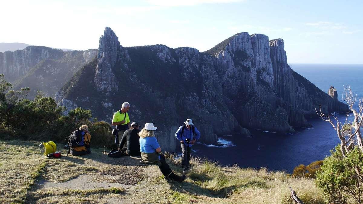 Friends of Tasman Island Wildcare exploring the island. Image: Ian Ross.
