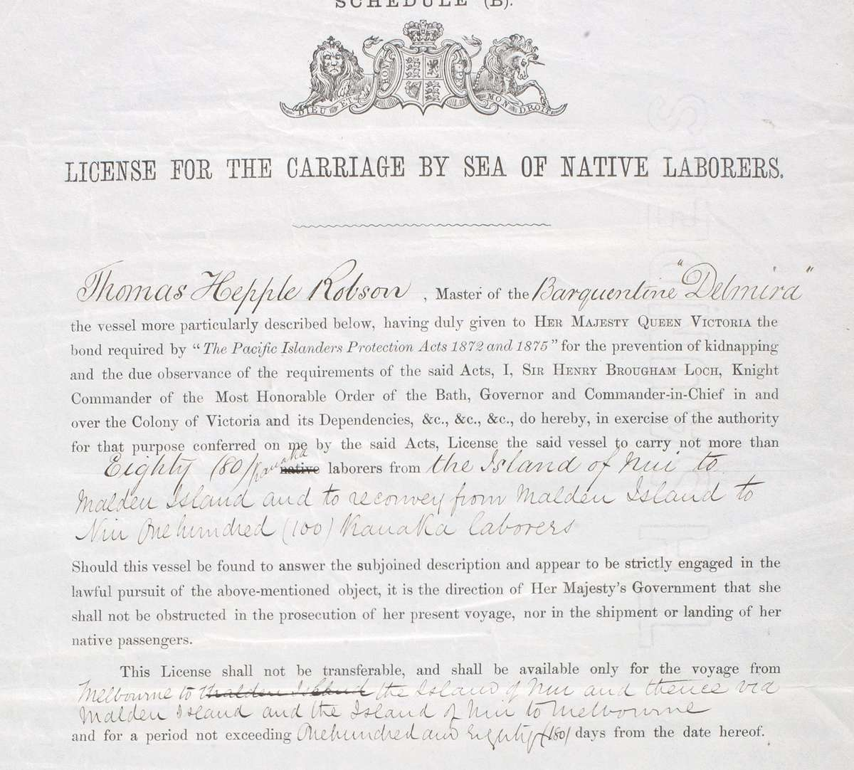 A license issued to Thomas Hepple Robson, Captain of Delmira,