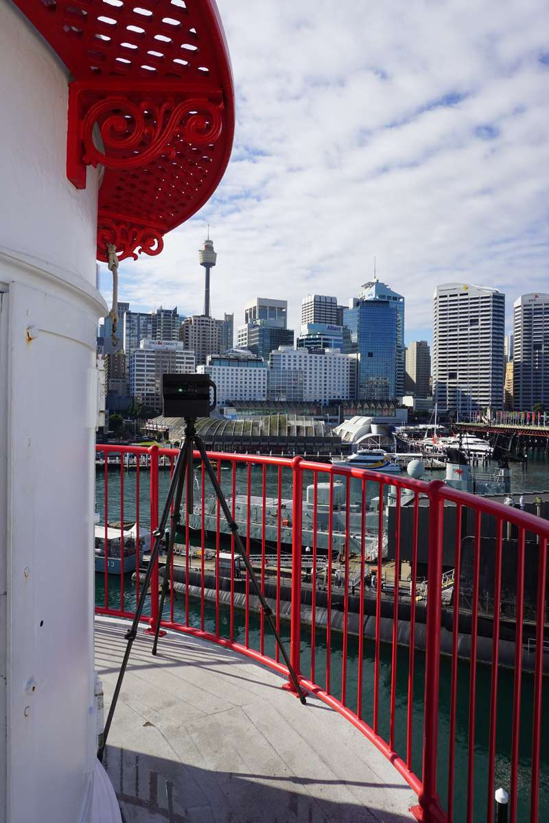 Drone photographing the exterior of Cape Bowling Green Lighthouse. Image: ANMM.
