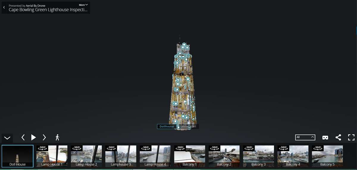 Screen shot of the internal 3D model of the lighthouse, from the project. Image: ANMM.