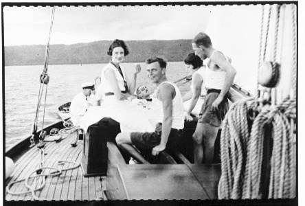 On the deck of yacht SIRIUS off Rabaul, Papua New Guinea. ANMM Collection 00014421.