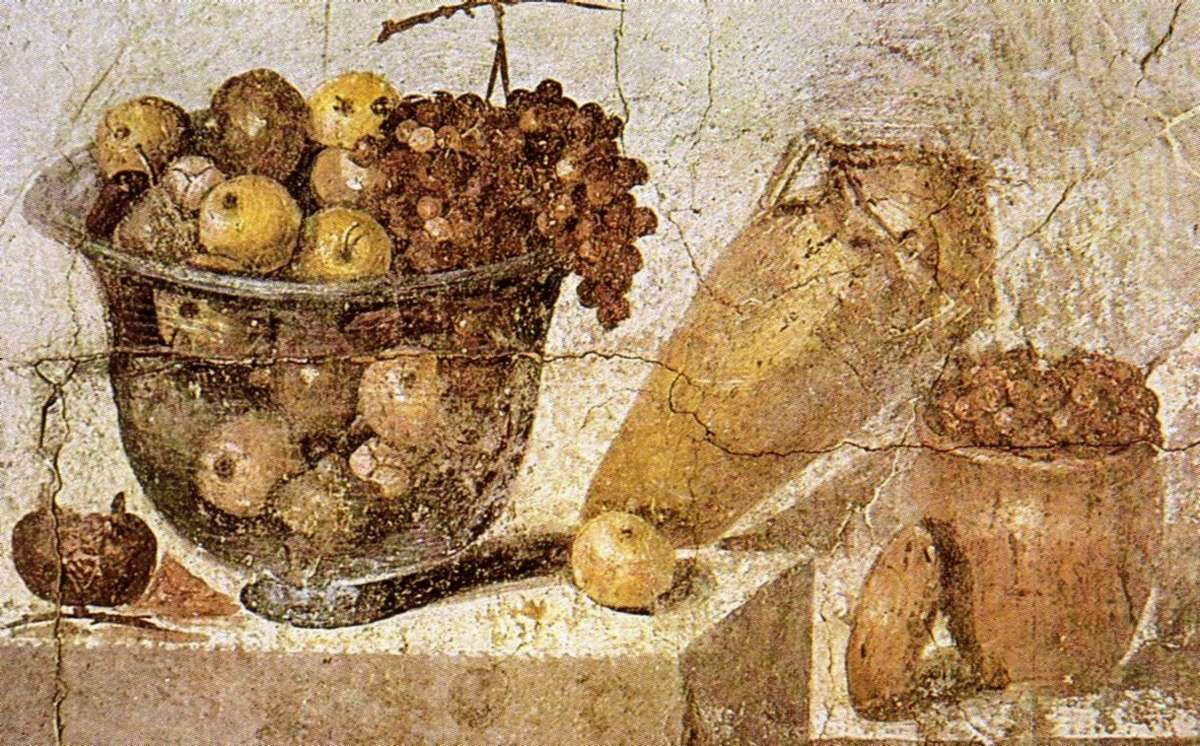 A still life fresco showing fruit bowl, jar of wine and a jar of raisins from House of Julia Felix in Pompeii. Image: Museo Archeologico di Napoli, via wikicommons.
