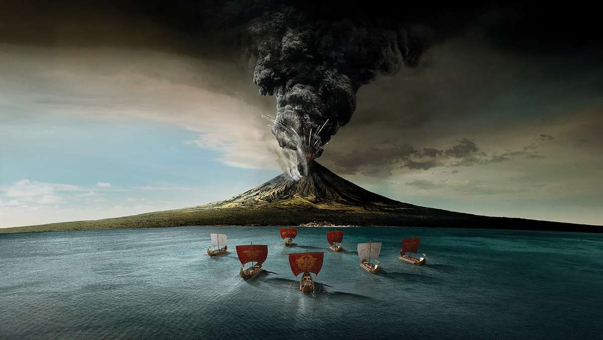 An illustration of the eruption of Mount Vesuvius in 79AD. Image: ANMM.