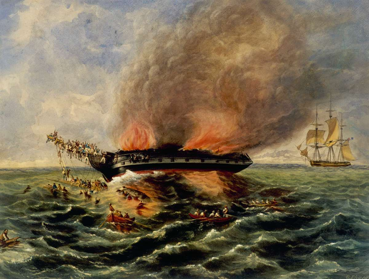 Samuel Elyard, Burning of the Barque India, c 1841. Watercolour on paper, 41.7 x 55 cm. ANMM Collection 00004246