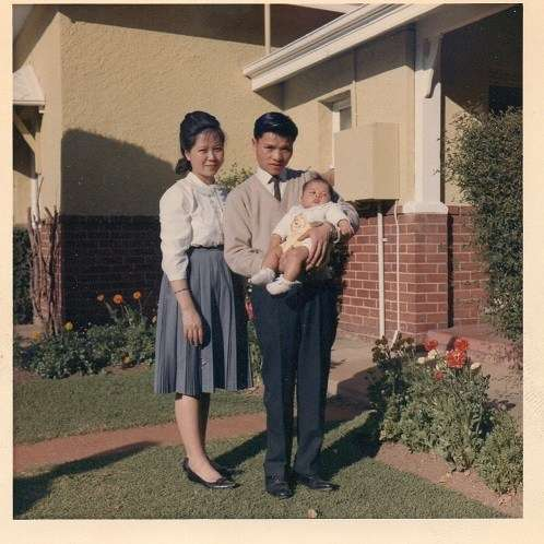 Albert and Linda, not long after their first child Richard was born (Dubbo 1965). Image courtesy Millie Soo.