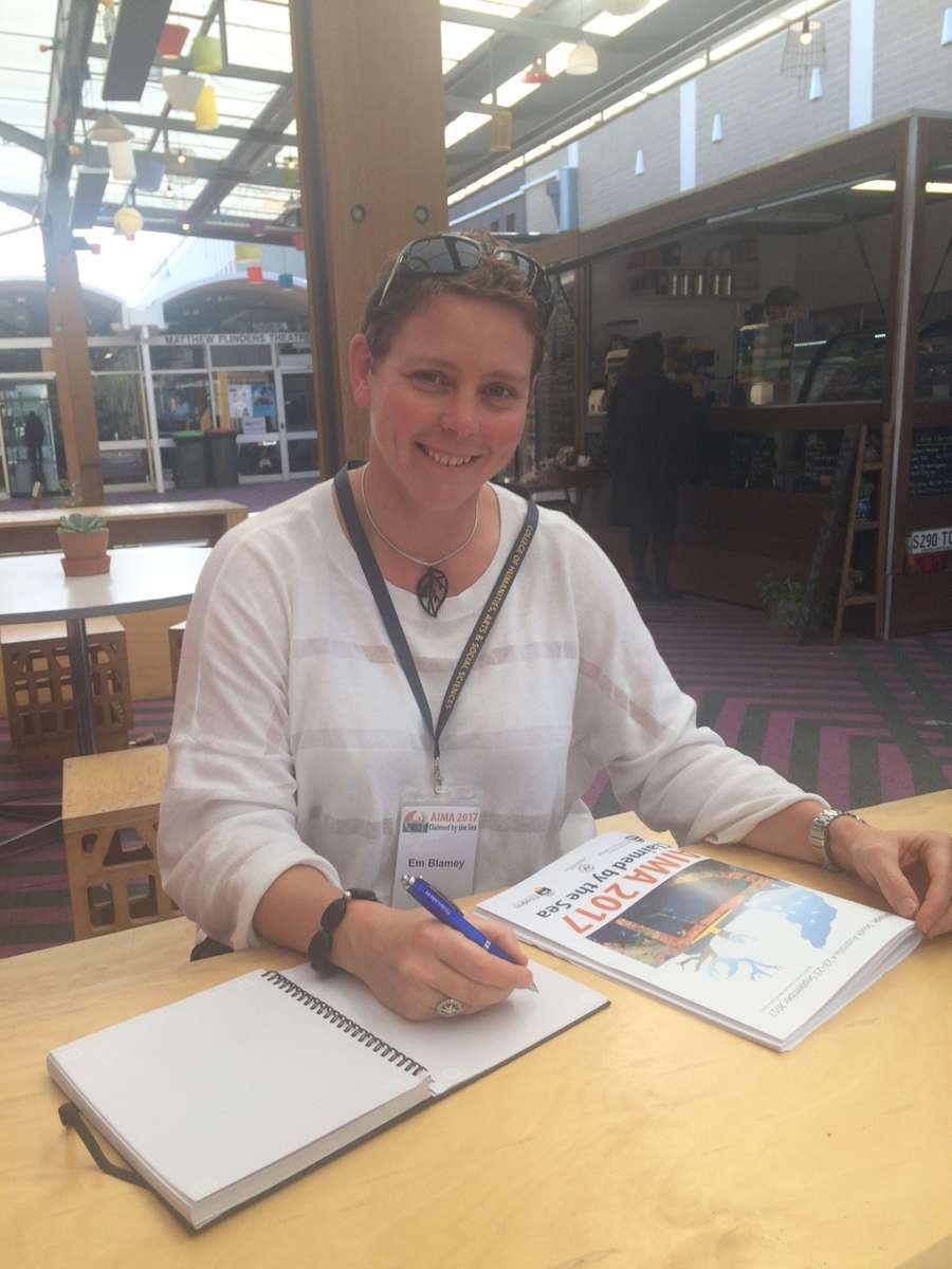 Em Blamey, Creative Producer at the museum, hard at work during a conference break. Image: Emily Jateff / ANMM.