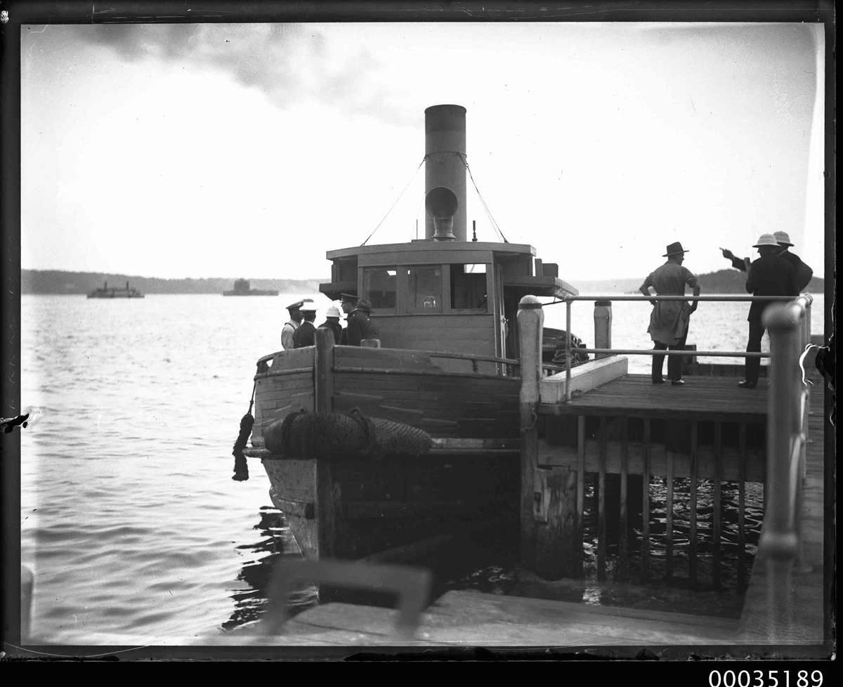 Tug docked at Bradleys Head, probably after the disaster. ANMM Collection 00035189, Samuel J Hood Collection.