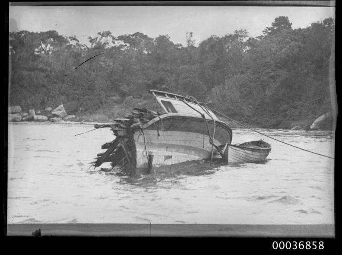 The partially submerged remains of the ferry <em>Greycliffe</em>, following the collision with <em>Tahiti</em>. 40 lives were lost in the disaster. ANMM Collection 00036858, Samuel J Hood Studio.