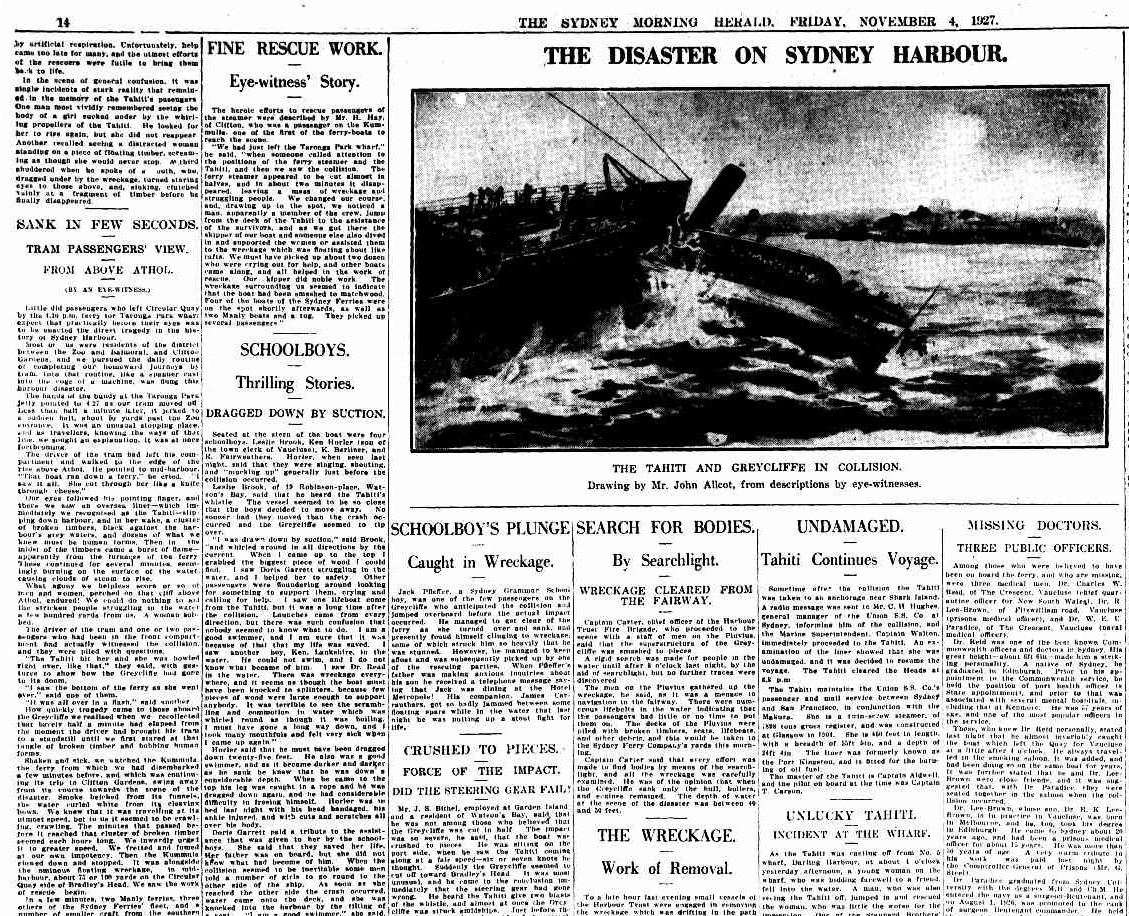 "The shocking disaster was widely reported. Sydney Morning Herald, via <a href=""http://trove.nla.gov.au/newspaper/page/1298215"">Trove</a>."