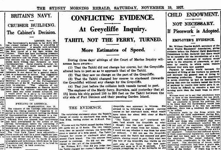 "The sudden nature of the disaster led to confusion over the evidence of why it occurred. Sydney Morning Herald, via <a href=""http://trove.nla.gov.au/newspaper/page/1273825"">Trove</a>."