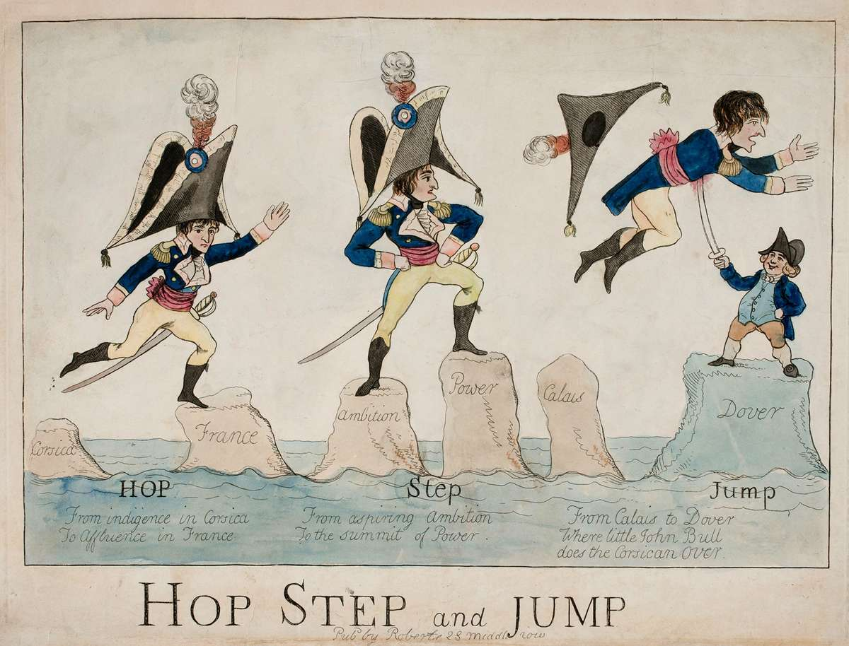 Caricature, Hop, Step and Jump (1804), hand-coloured etching by Piercy Roberts. A diminutive Napoleon traverses the seas from Corsica to Dover in three stages via a series of rocks marked Corsica, France, Ambition, Power, Calais and Dover. At the last, John Bull, symbolising England, holds a sword upon which Napoleon is impaled as he falls. ANMM Collection 00054712.