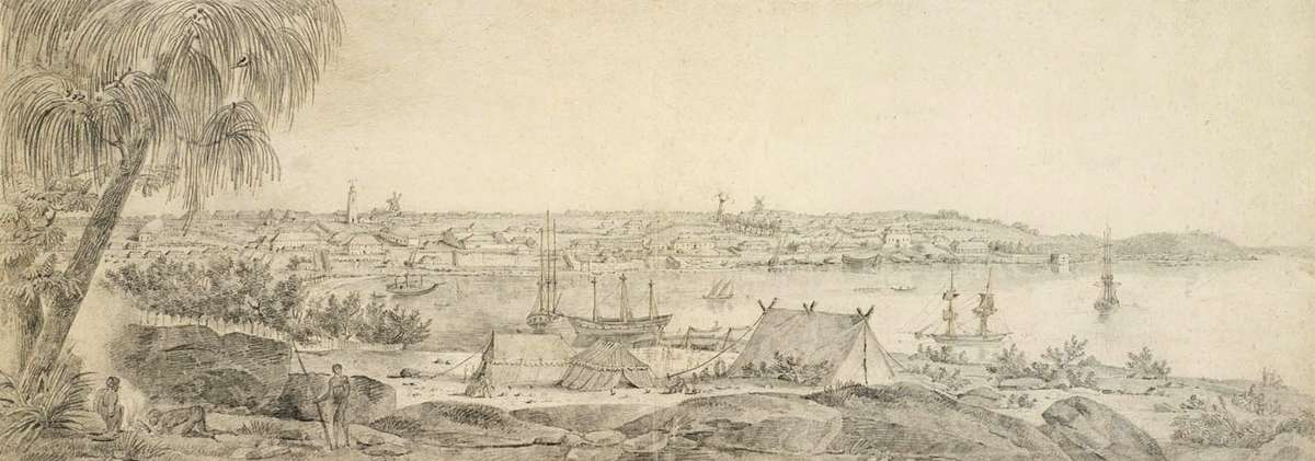 Lesueur made detailed sketches of Sydney. This view was made looking across Sydney Cove from where the Sydney Opera House now stands. Museum d'histoire naturelle, Le Havre.