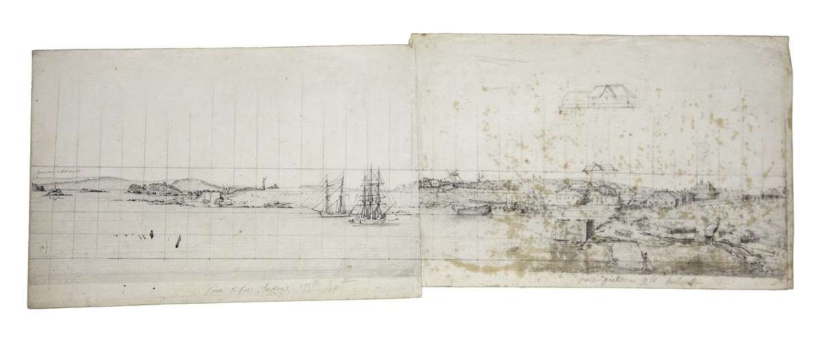 Lesueur's panoramic drawing of Sydney Cove, looking east from the Dawes Point Battery. Museum d'histoire naturelle, Le Havre.
