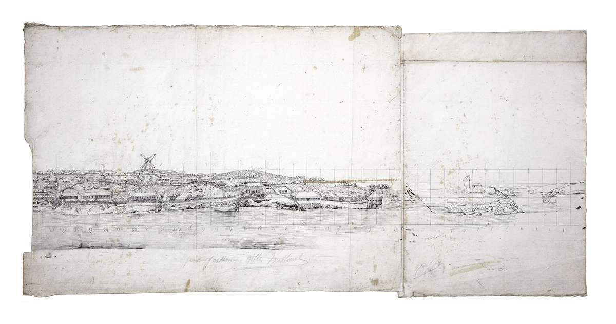 Lesueur's panoramic drawing of Sydney Cove, looking west from where the Sydney Opera House stands today. Museum d'histoire naturelle, Le Havre.