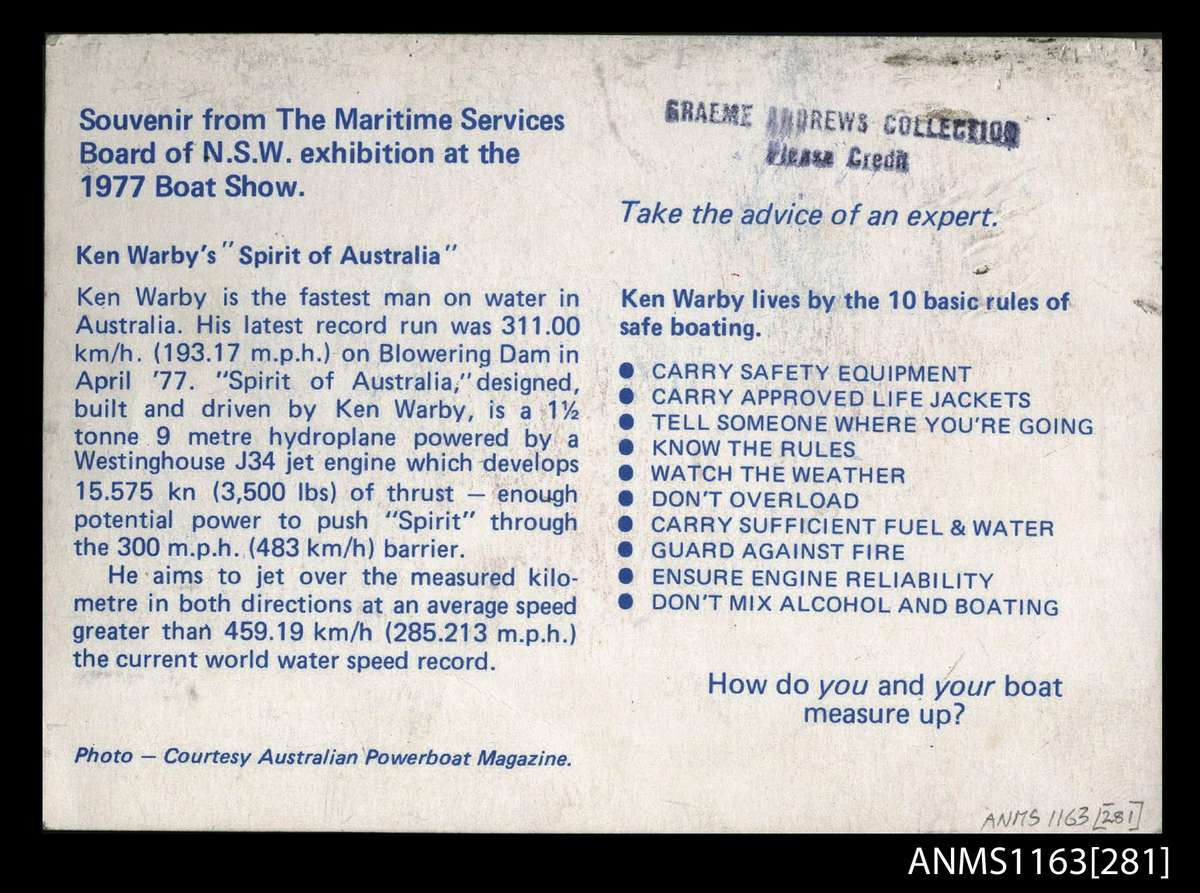 Promotional material from a 1977 Boat Show, with Ken Warby