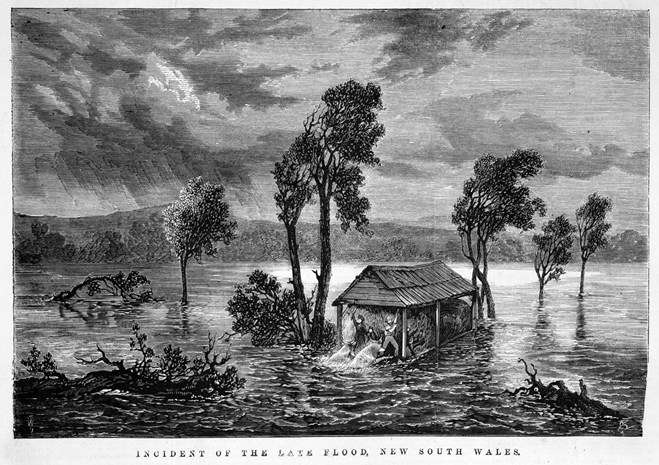 '<a href='https://cv.vic.gov.au/stories/aboriginal-culture/seeing-the-land-from-an-aboriginal-canoe/great-rescues/' target='_blank' rel='noopener'>Incident of the late flood, New South Wales'</a>, Samuel Calvert, engraver, wood engraving, published in <em>The Illustrated Australian News</em>, August 13, 1870. This engraving shows a flood in Bodalla, NSW, 1870 very much like the situation at Gundagai in 1852.