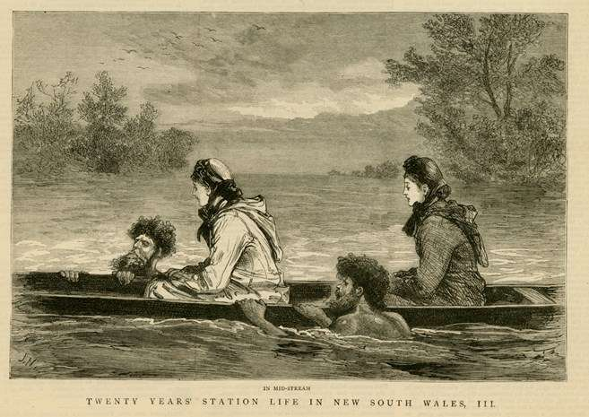 Unknown artist, <a href='https://cv.vic.gov.au/stories/aboriginal-culture/seeing-the-land-from-an-aboriginal-canoe/fear-of-crossing/' target='_blank' rel='noopener'><em>The Ladies want to cross a stream; In mid-stream</em>, 1883</a>, illustration taken from <em>The Graphic, </em>wood engraving on paper. Purchased with funds from public donation, 2014. Art Gallery of Ballarat