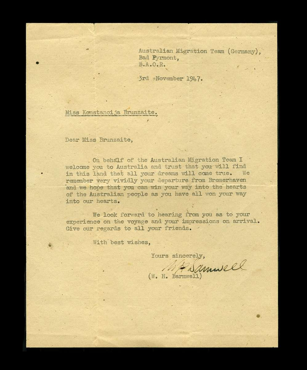 Letter from W H Barnwell to Konstancija Brundzaite, 1947. ANMM Collection Gift from the Australian Lithuanian Community 00003842