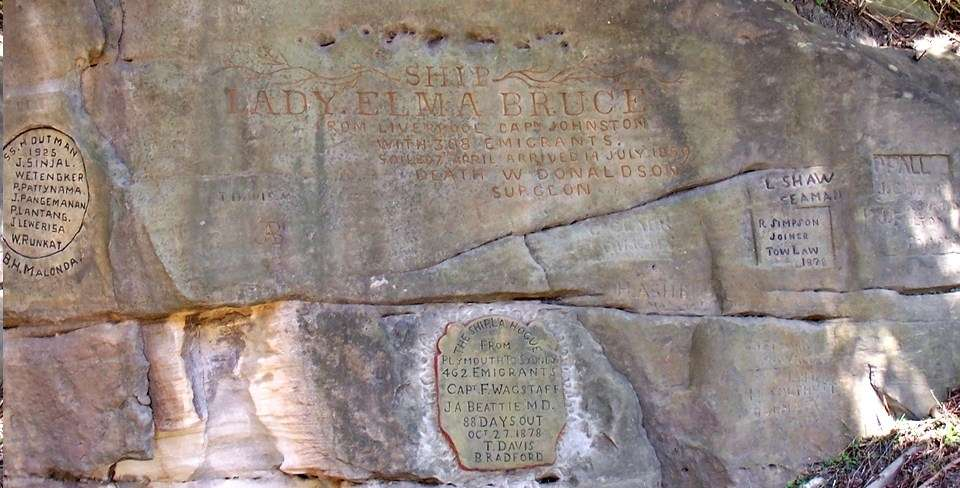 There are over 1600 carved and painted inscriptions at North Head Quarantine Station, including these messages marking British immigrant ships of the nineteenth century and Dutch trading vessels from the twentieth century. Image: Ursula K Frederick, Sydney Harbour National Park.