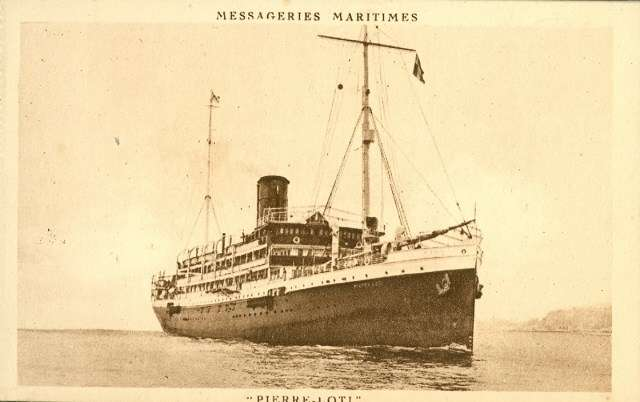 Pierre Loti was originally built in Scotland in 1913, passing through Russian and German owners before entering Messageries Maritimes service in 1922. Image: Jean-Paul Fontanon.