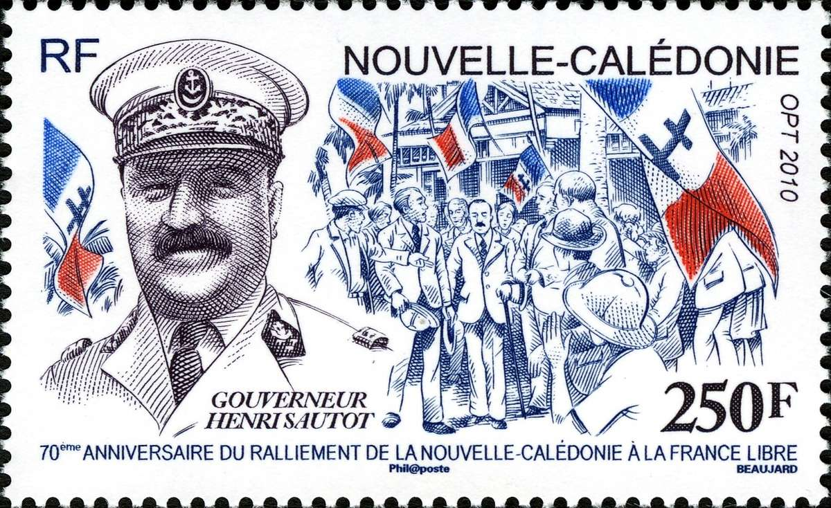 The seventieth anniversary of Henri Sautot's declaration that New Caledonia would henceforth fall under Free French rather than Vichy rule was celebrated by this 2010 stamp. Image: L