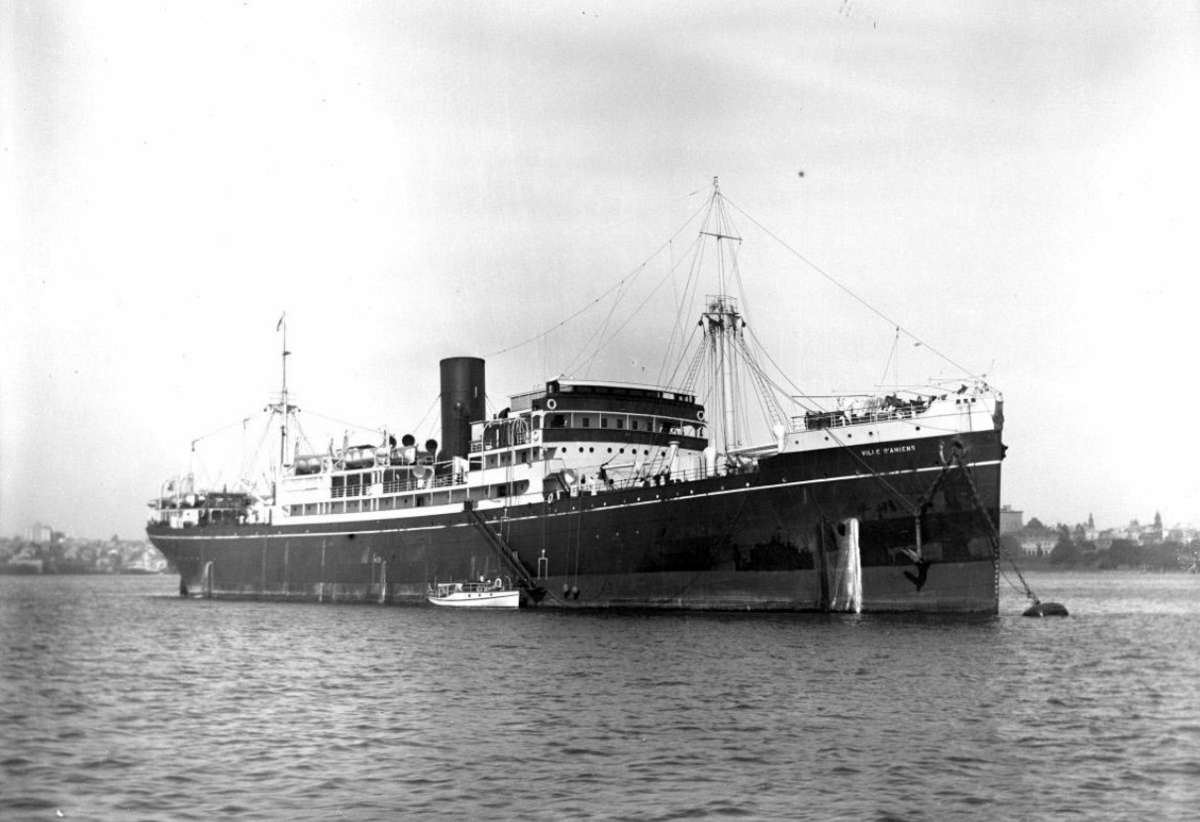 Another Messageries Maritimes vessel seized for use by the British Ministry of War Transport was Ville d'Amiens, seen here in 1932. Image: Australian National Maritime Museum, ANMM Collection 00041581.