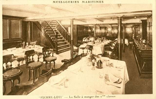 Reflecting its pre-World War I origins, the interior of Pierre Loti was ornately decorated and spaciously laid out. The 'Tonkinese' crew likely served as stewards for passengers in the second-class dining area. Image: Jean-Paul Fontanon.